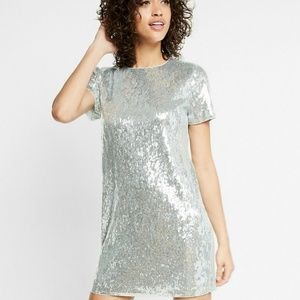 EXPRESS Silver Sequins Shift Dress Lined NWT